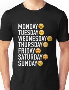 Moods of the Week Expressed Through Emojis Unisex T-Shirt