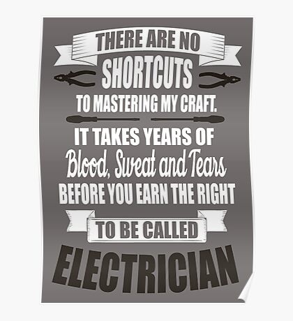 It takes years of blood, sweat, tears to be called electrician! Poster
