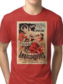 Vintage French belle époque ad Paris nightlife concert Tri-blend T-Shirt