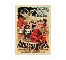 Vintage French belle époque ad Paris nightlife concert Art Print