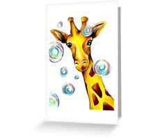 Bubbles and A Giraffe Greeting Card