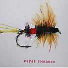 ORIGINAL painting watercolor Fly fishing WATERCOLOR Royal Coachman by pinetreeart