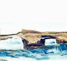 London Bridge, Portsea (watercolour) Victoria Australia by Margaret Morgan (Watkins)
