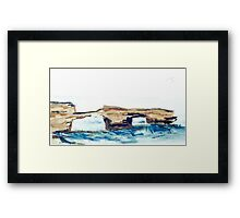 London Bridge, Portsea (watercolour) Victoria Australia Framed Print