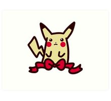 Ribbon Pikachu Art Print