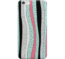 Polka Pink Mint Silver Wavy Stripes iPhone Case/Skin