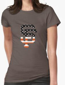 San Francisco Giants Flag Logo Womens Fitted T-Shirt