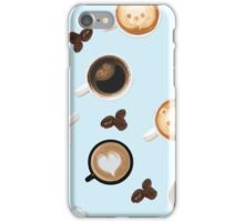 Cute Baby Blue Cups of Coffee Pattern iPhone Case/Skin