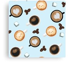 Cute Baby Blue Cups of Coffee Pattern Canvas Print