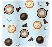 Cute Baby Blue Cups of Coffee Pattern Poster