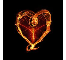 Burning Love Heart Photographic Print