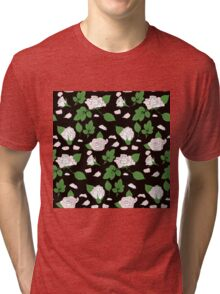 Seamless ethnic pattern with pink roses and green leaf Tri-blend T-Shirt