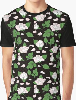 Seamless ethnic pattern with pink roses and green leaf Graphic T-Shirt