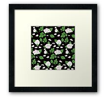 Seamless ethnic pattern with pink roses and green leaf Framed Print