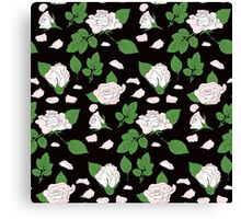 Seamless ethnic pattern with pink roses and green leaf Canvas Print