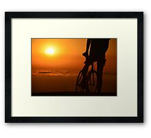 Bicyclist at Sunset Framed Print