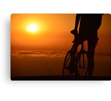 Bicyclist at Sunset Canvas Print