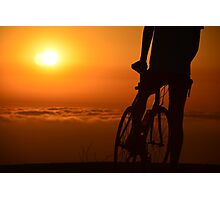 Bicyclist at Sunset Photographic Print