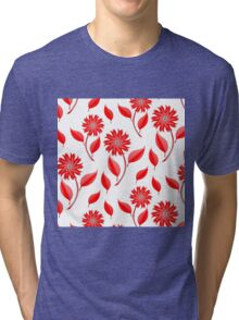 Simple flowers and leaf pattern Tri-blend T-Shirt
