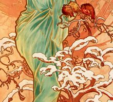 Alfons Mucha Art Nouveau Winter Painting Sticker