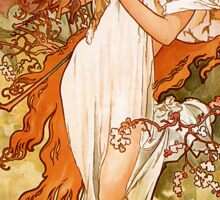 Alfons Mucha Art Nouveau Spring Painting Sticker