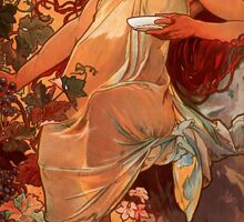 Alfons Mucha Art Nouveau Autumn Painting Sticker