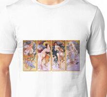 Alfons Mucha Art Nouveau Four Seasons Painting Unisex T-Shirt