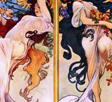 Alfons Mucha Art Nouveau Four Seasons Painting Sticker