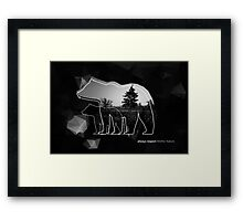 "Creative photo poster with double exposure with line icon of bear and text ""always respect Mother Nature"". Dark forest in the middle on the low poly black background. Framed Print"