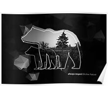"Creative photo poster with double exposure with line icon of bear and text ""always respect Mother Nature"". Dark forest in the middle on the low poly black background. Poster"