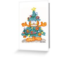 Garfield Christmas Watercolor Print and Cards Greeting Card