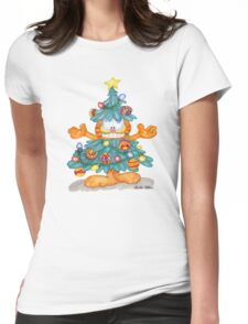 Garfield Christmas Watercolor T-Shirt Print and Cards Womens Fitted T-Shirt