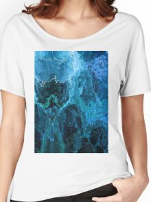 Blue Abstract Stone Textured Painting Women's Relaxed Fit T-Shirt