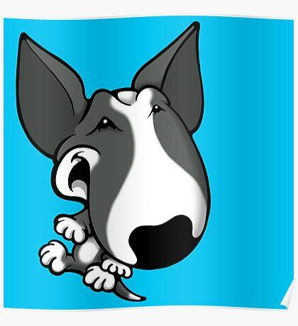 Fun Bull Terrier Cartoon Grey & White Poster