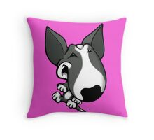 Fun Bull Terrier Cartoon Grey & White Throw Pillow