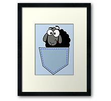 Smiling Cartoon Sheep In My Pocket - Funny & Odd T-Shirt Tote Bag Framed Print