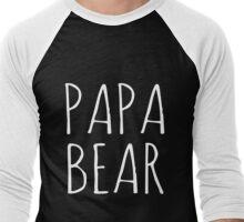 Papa Bear White Ink  Men's Baseball ¾ T-Shirt