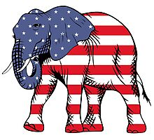 Republican Elephant American Flag Photographic Print