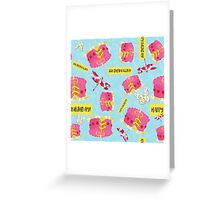 Happy Birthday Garden Party pattern, cake, butterfly, dragonfly Greeting Card