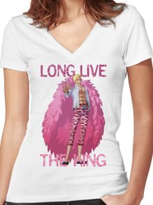 One Piece - Doflamingo: Long Live The King Women's Fitted V-Neck T-Shirt