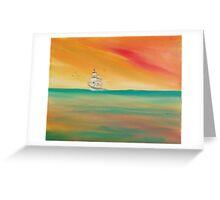 Sea birds greet a sailing ship. Greeting Card