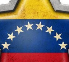 Venezuelan Flag Inside of an Aged and Scratched Star Sticker