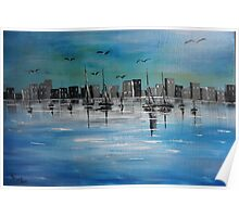 Sailboats and CityScape Poster