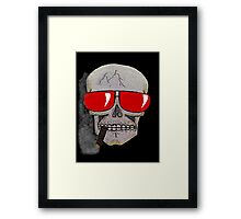 Cigar Smoking Skull w/ Red Sunglasses   Framed Print