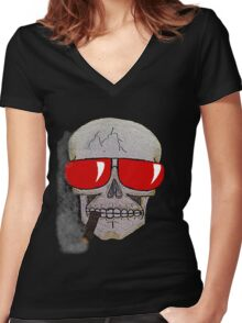 Cigar Smoking Skull w/ Red Sunglasses   Women's Fitted V-Neck T-Shirt
