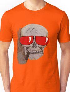 Cigar Smoking Skull w/ Red Sunglasses   Unisex T-Shirt