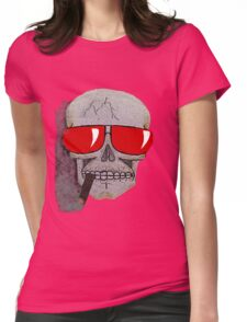 Cigar Smoking Skull w/ Red Sunglasses   Womens Fitted T-Shirt