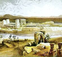 Temple Island, Philae on the Nile, Egypt 1838 by Dennis Melling