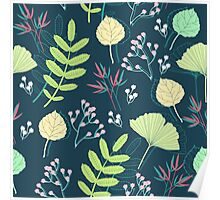 Spring-leaf-and-flower-seamless-pattern-vector Poster