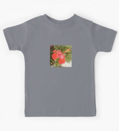 Beautiful Red Hibiscus Flower With Garden Background Kids Tee